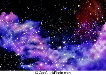Blue and magenta nebula - stars shine through the clouds of...