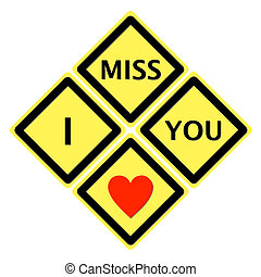 Sign of I miss you colour in black and red heart on yellow...