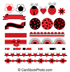 Digital vector scrapbook with ladybug art illustration