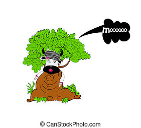 Illustration of  cow and tree