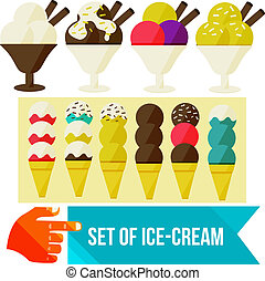 ice cream set - set of ice cream flat vector illustration