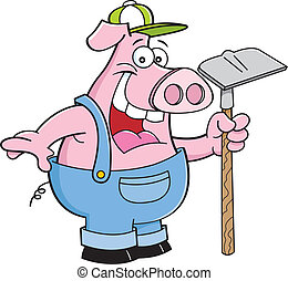 Pig holding a hoe - Cartoon illustration of a pig in...