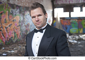 Formal style in ghetto - Well dressed handsome Caucasian man...