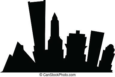 Cartoon Portland - Cartoon skyline silhouette of the city of...
