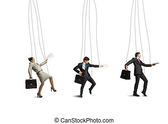 businessmen puppets - business people puppets hanging by a...