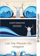 Three Banners of Passover Jewish Holiday illustration