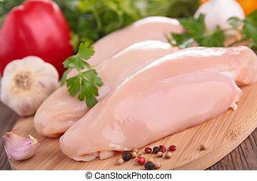 cru, poulet, poitrine