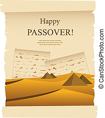 Egypt dessert on acient card passover card illustration