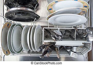 Dish washer with dirty dishes and kitchenware