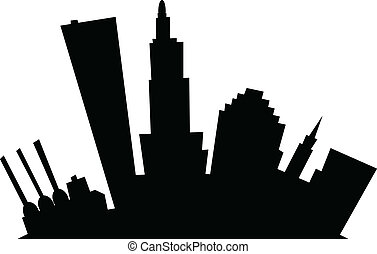 Cartoon Providence - Cartoon skyline silhouette of the city...