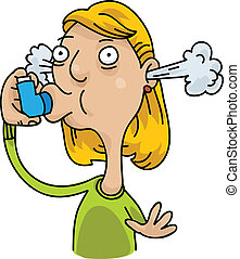 Asthma Inhaler - A cartoon woman uses her inhaler to deal...