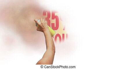 35 Percent Discount Spray Painting - Sign for a 35 percent...