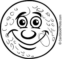 man in the moon coloring page - Black and White Cartoon...