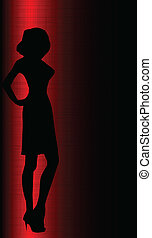 Prostitute - Silhouette of a sexy lady surrounded in red...