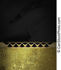 Black background with old gold edge and gold trim. Design...