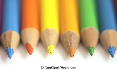 Rolling colored pencils