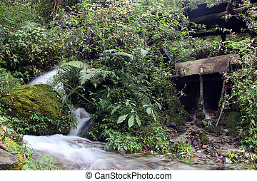 Water mill - Small river and old water mill in the forest in...
