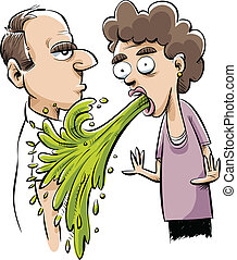 Vomiting on a Man - A cartoon vomit accidentally vomits on a...