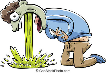 Painful Puke - A cartoon man in pain as he vomits.
