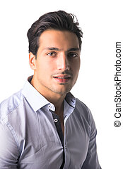 Brown eyed, black haired latin man on white background...