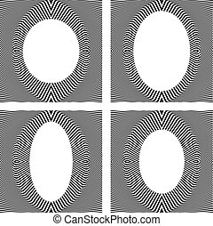 Set of stylish oval frames in op art design. Vector art.