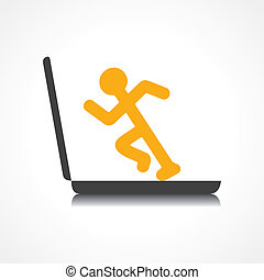 Man running with technology