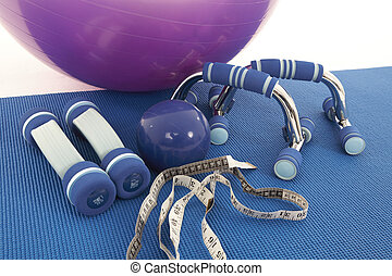 Fitness Equipment - Collection of fitness equipment on a...