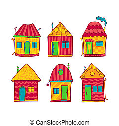 Conjunto, colorido, Casas, caricatura, estilo
