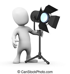 3d Little man has a spotlight - 3d render of a little person...