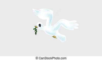 white dove cartoon - white dove with olive branch, cartoon...