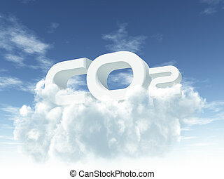 co2 - white co2 on cloudy sky - 3d illustration