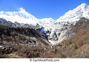 Snow mountains - Snow in mountains near Samagoon in nepal