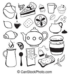 Tea and sweets vector black and white objects - Tea and...