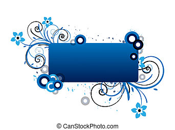 blue text area - blue text frame with floral design