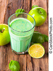 Fresh milk shake - Fresh milk, apple, lime, kiwi drink on...