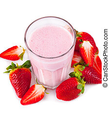fresh milk shake - Fresh milk, strawberry drink isolated on...