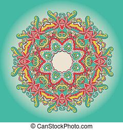 fundo, Renda, mão, desenhado, coloridos, Ornamento