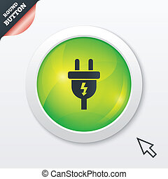 Electric plug sign icon. Power energy symbol. Lightning...