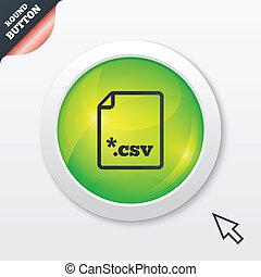 File document icon. Download CSV button. - File document...