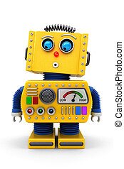 Cute toy robot looking down - Yellow toy robot is looking...