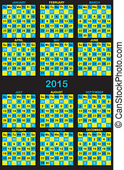 2015 CALENDAR giant blue and yellow tile on black BACKGROUND...