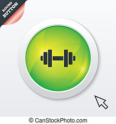 Dumbbell sign icon. Fitness symbol. Green shiny button....