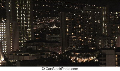 Honolulu Skyline at night, zoom out