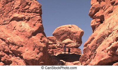 Tourists in Arches - Silhouette outline of tourists in...