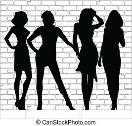 Hooker Silhouettes - A group of young call girls together on...