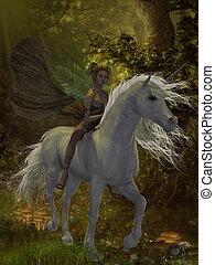 Fairy rides Unicorn - A fairy rides a wild white unicorn...