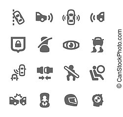 Auto safety icons - Simple set of auto safety related vector...