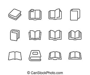 Books icons - Simple set of books related vector icons for...