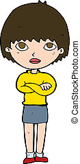 cartoon woman with crossed arms