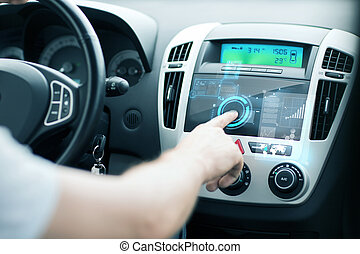 man using car control panel - transportation and vehicle...